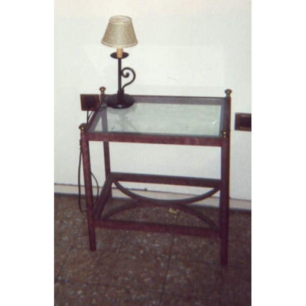 Bedside Table Wrought Iron. color Pompeian red 885
