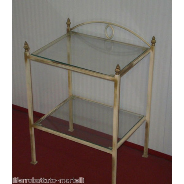 Bedside Table Wrought Iron. Ivory color with golden shades. 886