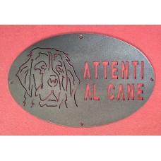 "Plaque / Nameplate / Cartel ""BEWARE OF THE DOG"" in Iron . laser cutting . Berner Sennenhund . 1758"
