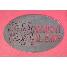 """Plaque / Nameplate / Cartel """"BEWARE OF THE DOG"""" in Iron . laser cutting . Border Collie . 1763"""