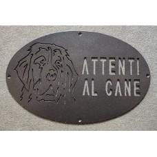 "Plaque / Nameplate / Cartel ""BEWARE OF THE DOG"" in Iron . laser cutting . Landseer . 1761"