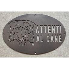 "Plaque / Nameplate / Cartel ""BEWARE OF THE DOG"" in Iron . laser cutting . Australian Shepherd . 1759"