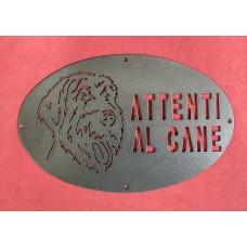 "Plaque / Nameplate / Cartel ""BEWARE OF THE DOG"" in Iron . laser cutting . Griffon fauve de Bretagne . 1766"