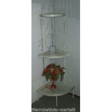 Wrought Iron Consolle Etagere Furniture.  Ivory color with shades of gold. 305