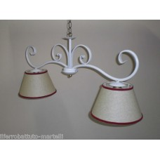 Wrought Iron Chandelier. Dimensions approx. 85 x 40 cm. White color with lampshades . 201