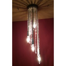 Iron Chandelier. Dimensions cm 20 x h 70 approx . Silver color . 5 Lights .  229