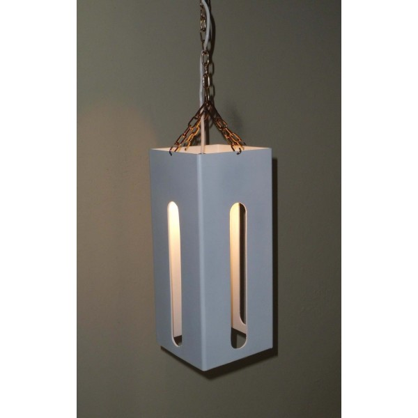 Iron Chandelier. Dimensions cm 15 x h  40 approx . White color.  341