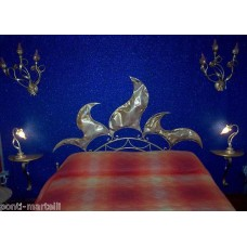 Wrought iron bed. Double . Headboard and bedframe . Colour Gold .  970