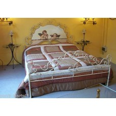 Wrought iron bed. Double. Colour Ivory with Gold Grades.  971