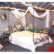 Wrought iron bed. Double . Canopy headboard and footboard . Colour Iron. 999