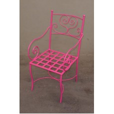 Chair Wrought Iron. Size approx. 48 x 48 x 91 cm . Pink and white color .  475